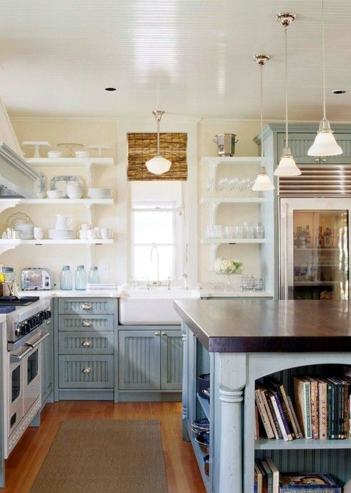 Best kitchen ever i am obsessed with this kitchen happy blue cabinets natural blinds hanging - Best kitchens ever ...