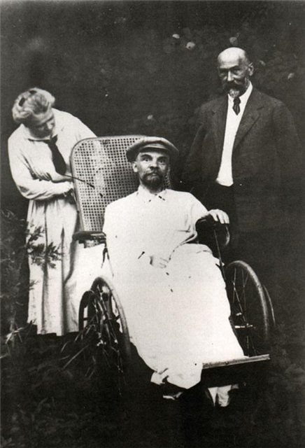 Last photo of Lenin, in 1923. Persistent stories mark syphilis as the cause of Lenin's death.  The mental strains of leading a revolution, governing, and fighting a civil war aggravated the physical debilitation consequent to the wounds from the attempted assassinations; Lenin retained a bullet in his neck, until a German surgeon removed it on 24 April 1922. Among his comrades, Lenin was notable for working almost ceaselessly, 14-16hrs daily.