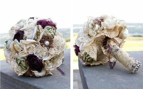 Fabric and burlap bouquets