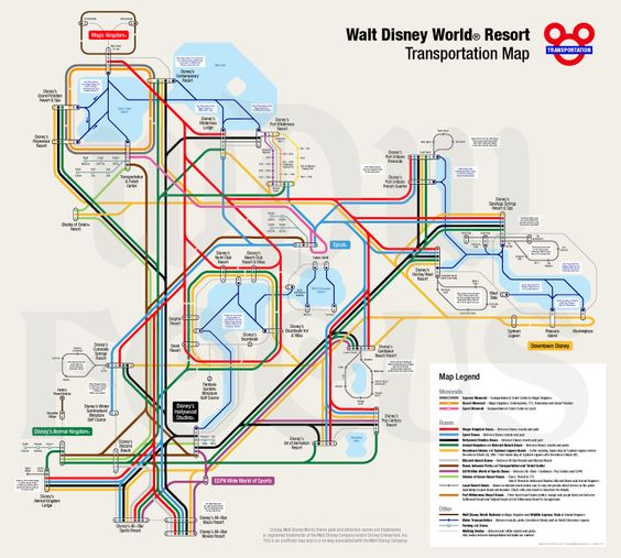 WDW Focus » Transportation Map.  Unofficial transportation map. The subway-style map shows all Disney transportation lines of buses, trains, boats and monorails, between the 4 theme parks, 2 water parks, Downtown Disney and Disney resorts. The map was last updated 17 January 2013.