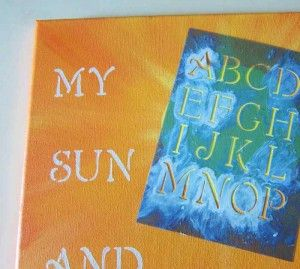 Use letter stencils to paint quotes on canvas