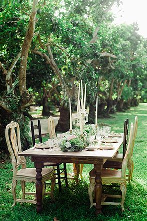 Garden table with mismatched chairs | Photo by Merari | Styling by, and rentals from, Love in Vintage