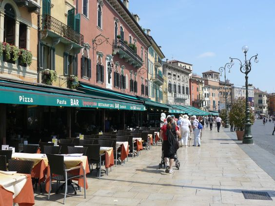 Piazza Bra' cafes, Verona, Italy