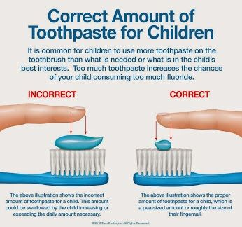 "Unlike the kid who told me he didn't need to brush because he ""ate toothpaste!"" More isn't necessarily better when it comes to toothpaste amounts for children.:"