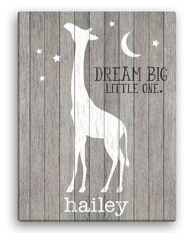 Look at this #zulilyfind! Gray Giraffe 'Dream Big Little One' Personalized Giraffe Canvas #zulilyfinds