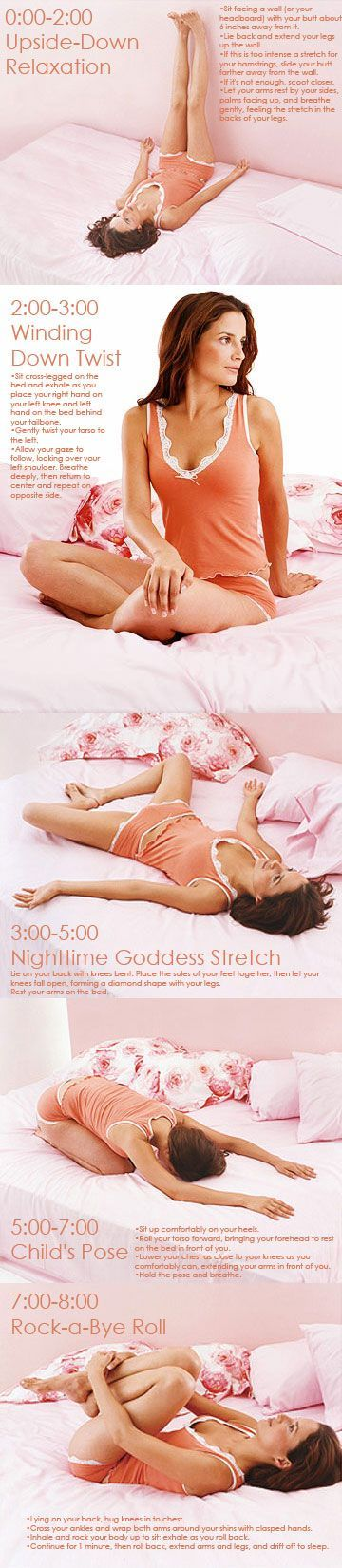 8-Minute Workout: Yoga for Better Sleep Forget counting sheep. Ease your way into dreamland with this five-move yoga routine from Edward Vilga, creator of the DVD Yoga in Bed: 20 Asanas to Do in Pajamas (yogainbeddvd.com, $19.95). The moves will relax your body and mind, but the best part is that you can do them all in bed!
