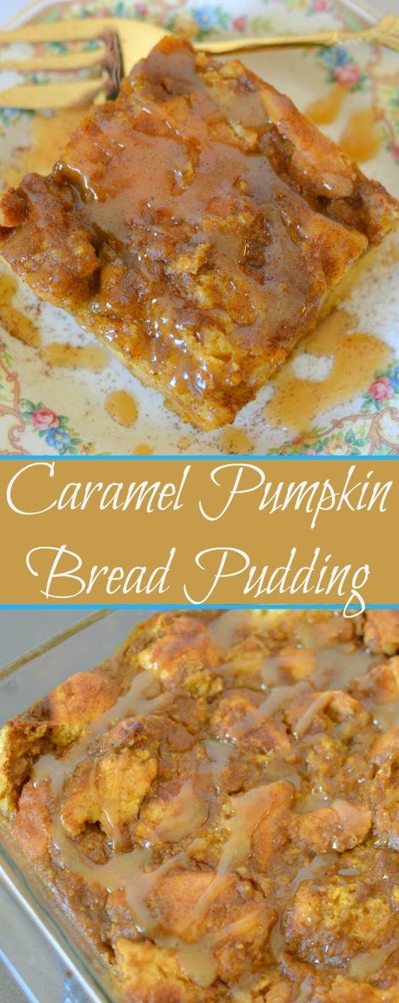 Caramel Pumpkin Bread Pudding Recipe