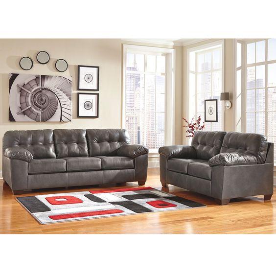 Flash Furniture Signature Design By Ashley Alliston Loveseat In Gray Durablend
