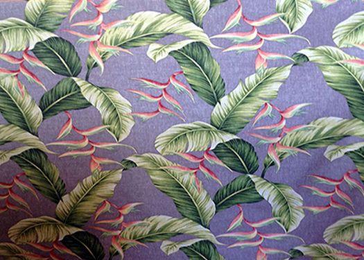 11palule Tropical Botanical Vintage Hawaiian Fabric Heliconia flowers, banana leaf, apparel cotton, Hawaiian vintage style fabric.