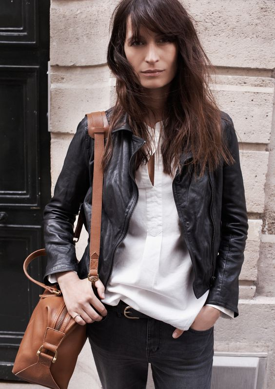 french women style, black leather jacket, brown bag