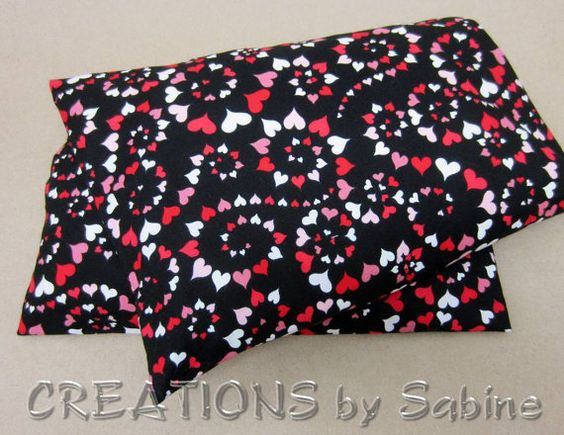 Corn Heating Bag with washable cover Microwave Corn Pillow Therapy Corn Pack / black red pink hearts heart spirals / READY TO SHIP  by CREATIONSbySabine on Etsy