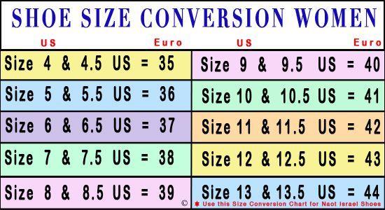 Shoe Size Chart #womenshoessizechart