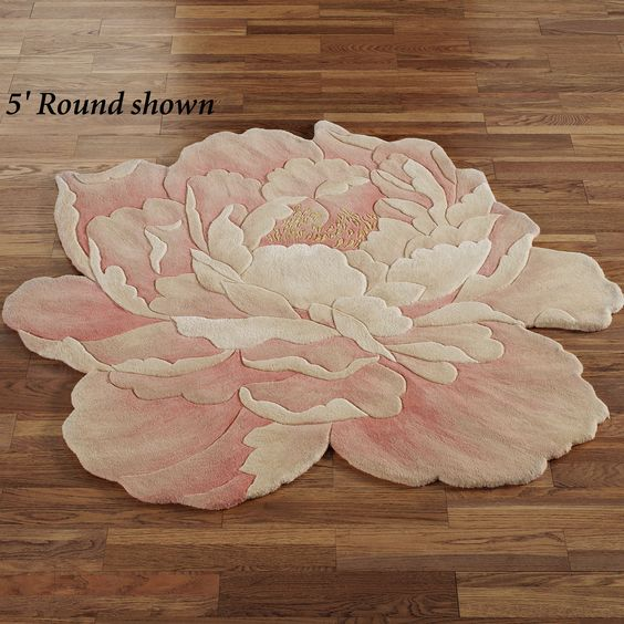 juliette round peony flower shaped rugs  wool, round rugs and locks, Rug