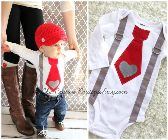 4c3081012 valentines day baby boy tie and suspenders bodysuit with heart applique  babys 1st photo prop red