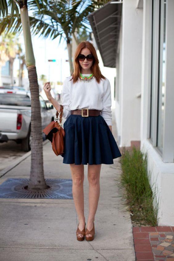 A Line Blue Skirt