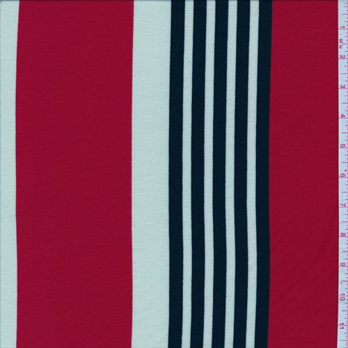 Red/Cream Stripe Ponte Double Knit - 29132 - Fabric By The Yard At Discount Prices