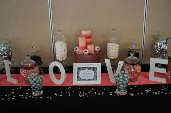 Watermelon, Black and Silver Candy Buffet
