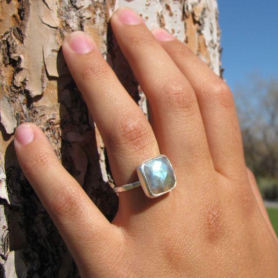 Square Labradorite Silver Ring
