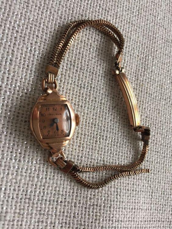 Vintage Bulova 14k Solid Rose Gold Ladies 17 Jewels 6ah