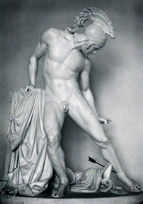 GREECE CHANNEL | Achilles Wounded by the Heel (c.1850) by Innocenzo Fraccaroli, plaster, École des Beaux-Arts, Paris, France
