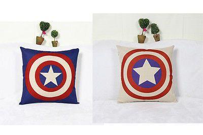 Sofa Avengers Pillow Case Cotton Linen Cushion Cover Throw Super Hero
