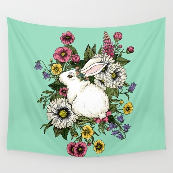 rabbit, bunny, flowers,