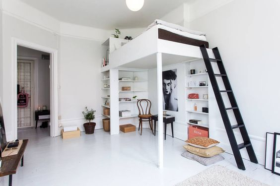 light studio apartment with loft bed studio pinterest