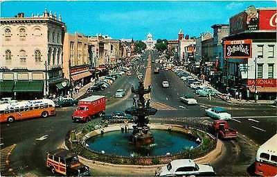 Montgomery Alabama 1950s Town Dexter Avenue Fountain Antique Vintage Postcard