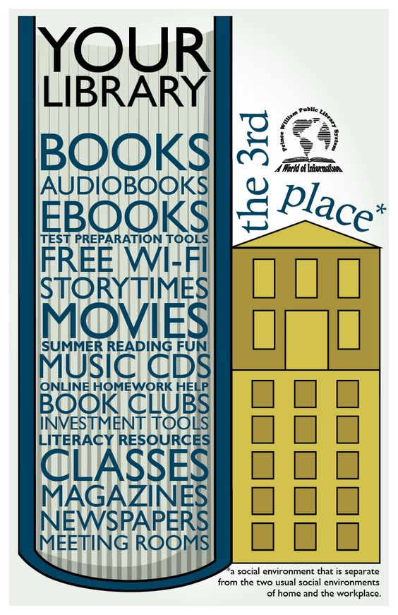 "Library Graphic Design - what can be found at the library.  Part of a ""promote the library"" possible series."