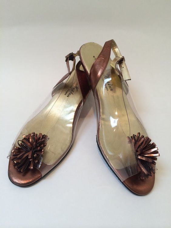 Glamorous Vinyl Copper Metallic Wedged Sling Back Shoes by Norman Kaplan, Las Vegas Size 10 M