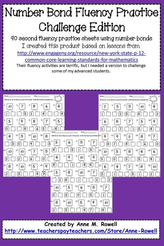 Number Bond Fluency Worksheets - Addition | Math, Worksheets and ...