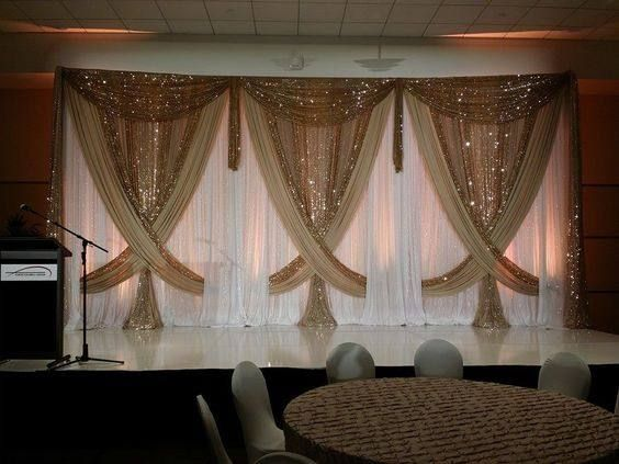 Free Shipping 3m 6m White Wedding Backdrop Curtain With Shiny Gold