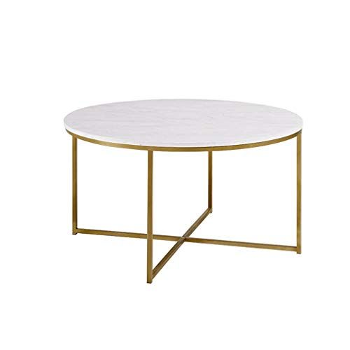 Simple Coffee Table Round Marble Panel Wrought Iron Thick