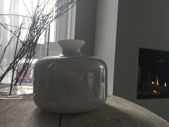 Design vaas grijs gekleurd glas, Nordic woonstijl *lavande*