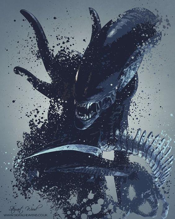 Amazing #Alien 'splatter' artwork by Stewart Wood https://www.facebook.com/DigitalHeavens/photos/?tab=album&album_id=10156068396955234&mt_nav=1 #WeylandYutani