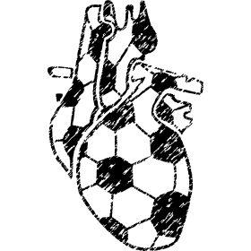 Fu�ballherz Organ Retro - F�r jeden den sein Herz f�r Fu�ball schl�gt. Ein menschliches Herz als Organ im typischen Fussballmuster im Retrostyle mit Kratzer.