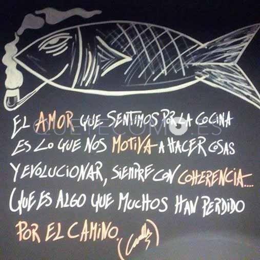 Frase grabada en la pared del baño de los clientes | Restaurante Canalla Stnd. en A Coruña