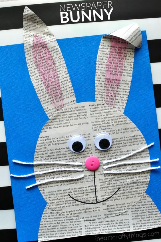 Newspaper Bunny Easter Crafts for Kids