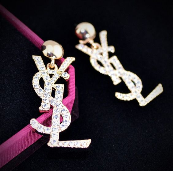 Austrian Crystals Letter Earrings 18K Real Gold Plated High Quality Jewelry
