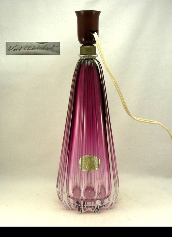 Best Val St Lambert Paars Kristallen Lamp Lampe Mauve en Cristal eBay