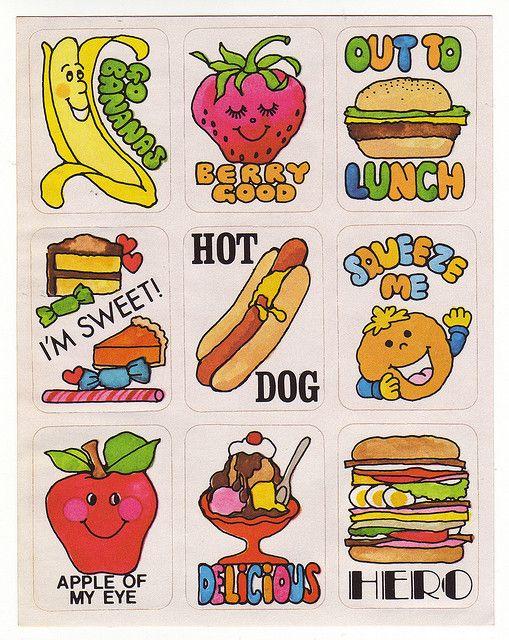 Cute Vintage 70s Food Stickers Anthropomorphic Kawaii Retro Fruit Hot Dog Hamburger Sticker Collection Matchbox Art Hello Design