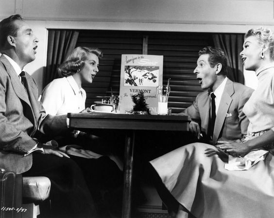 """White Christmas, with Bing Crosby, Rosemary Clooney, Danny Kaye, and Vera-Ellen. This picture is from the """"Snow, Snow, Snow, Snow"""" scene."""