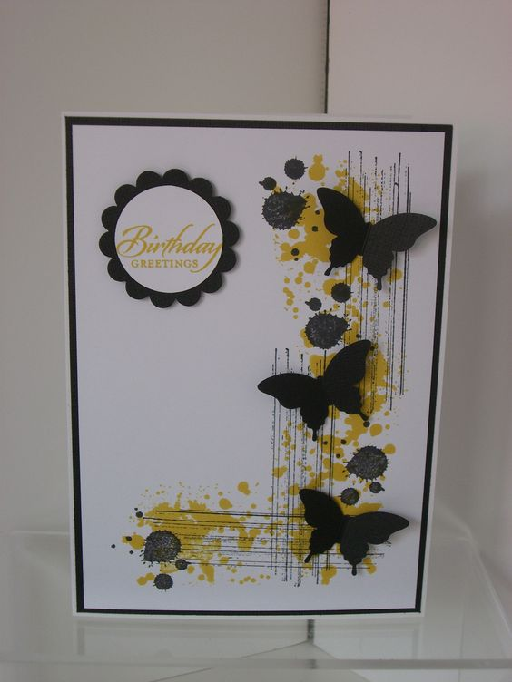 handmade card ... Gorgeous Grunge and elegant butterfly punch ... yellow and black ... luv the way the grunge stamping becomes an L-shaped element tofor butterflies and candy dots ... great card! ... Stampin'Up!