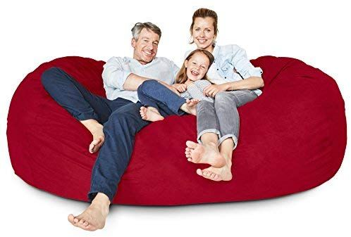 Amazon Com Lumaland Luxury 6 Foot Bean Bag Chair With Microsuede Cover Dark Grey Machine Washable Big Size Sofa And Giant Lounger Furniture For K Dom