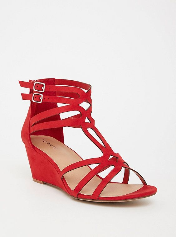 Red Caged Midi Wedge (Wide Width)Red