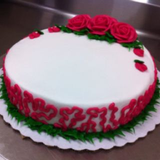 Round production rose cake, only $6.24. Such a good deal!