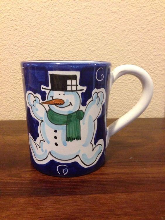 Starbucks coffee company blue snowman mug cup sberna for Starbucks italie