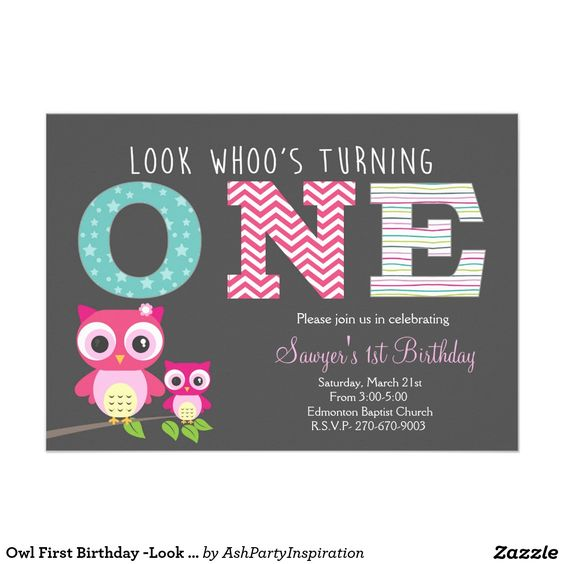 """Owl First Birthday -Look whoo is turning one 5"""" X 7"""" Invitation Card"""