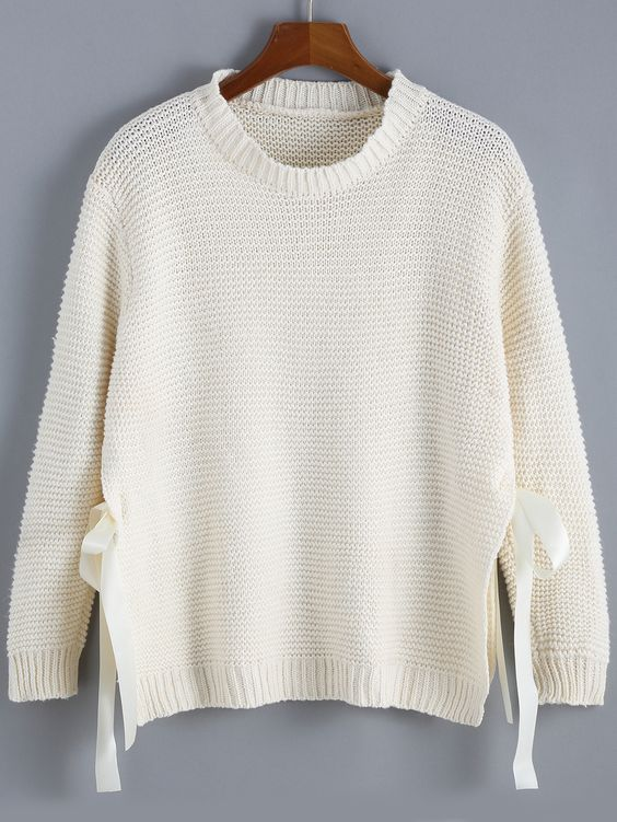 Apricot Round Neck Bow Knit Sweater,    #Sweaters,    #sweater151020056