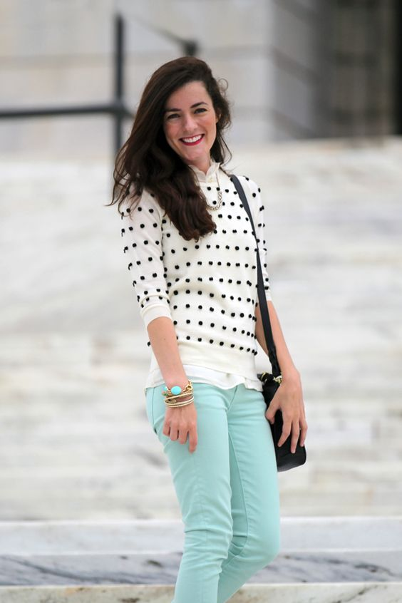 Polka dot jumper and casual mint denim.